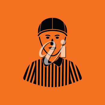 American football referee icon. Orange background with black. Vector illustration.
