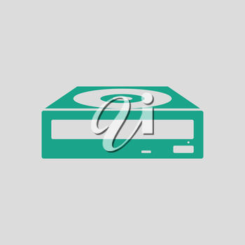 CD-ROM icon. Gray background with green. Vector illustration.