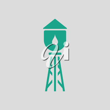 Water tower icon. Gray background with green. Vector illustration.