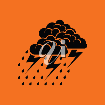 Thunderstorm icon. Orange background with black. Vector illustration.