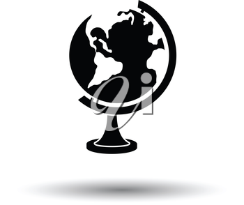 Globe icon. White background with shadow design. Vector illustration.