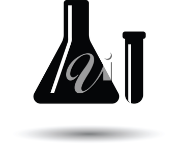 Chemical bulbs icon. White background with shadow design. Vector illustration.