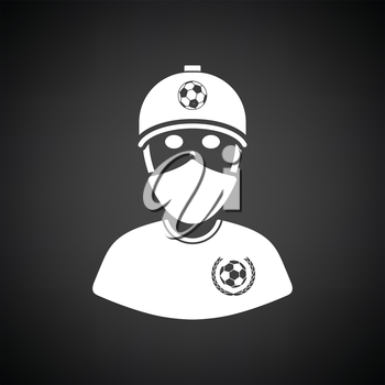 Football fan with covered  face by scarf icon. Black background with white. Vector illustration.