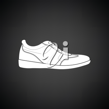 Man casual shoe icon. Black background with white. Vector illustration.