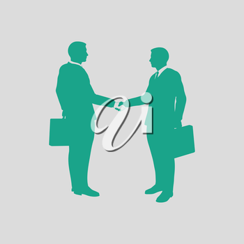 Meeting businessmen icon. Gray background with green. Vector illustration.