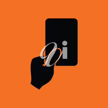 Soccer referee hand with card  icon. Orange background with black. Vector illustration.