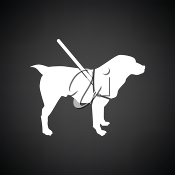 Guide dog icon. Black background with white. Vector illustration.