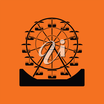 Ferris wheel icon. Orange background with black. Vector illustration.