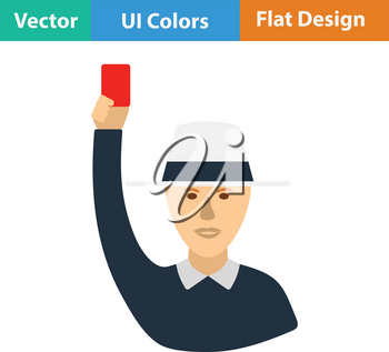 Cricket umpire with hand holding card icon. Flat design. Vector illustration.