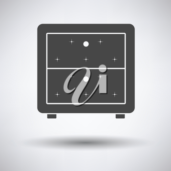 Bedroom nightstand icon on gray background, round shadow. Vector illustration.