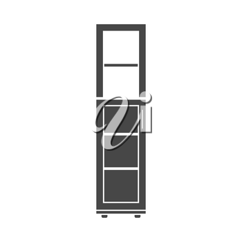 Narrow cabinet icon on gray background, round shadow. Vector illustration.