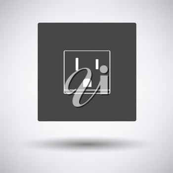 USA electrical socket icon on gray background, round shadow. Vector illustration.