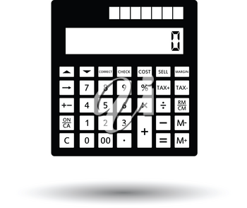 Statistical calculator icon. White background with shadow design. Vector illustration.