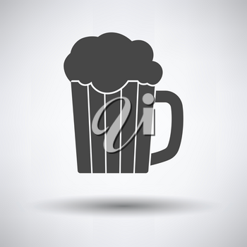Mug of beer icon on gray background, round shadow. Vector illustration.