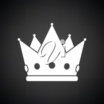 Party crown icon. Black background with white. Vector illustration.