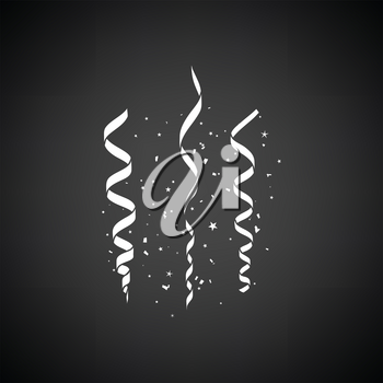 Party serpentine icon. Black background with white. Vector illustration.