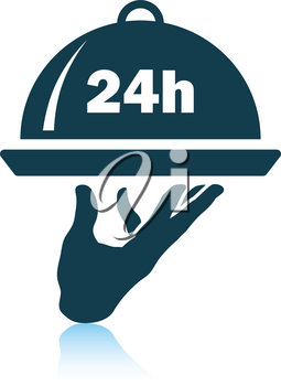 24 hour room service icon. Shadow reflection design. Vector illustration.