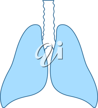 Human Lungs Icon. Thin Line With Blue Fill Design. Vector Illustration.