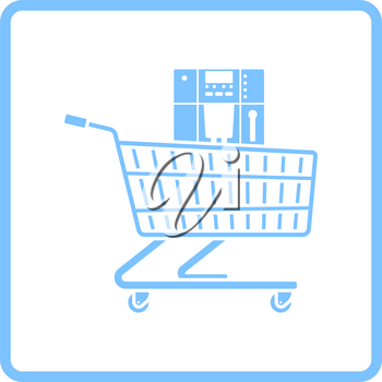 Shopping Cart With Cofee Machine Icon. Blue Frame Design. Vector Illustration.