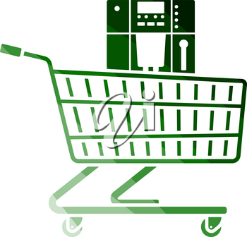 Shopping Cart With Cofee Machine Icon. Flat Color Ladder Design. Vector Illustration.