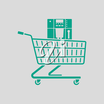 Shopping Cart With Cofee Machine Icon. Green on Gray Background. Vector Illustration.