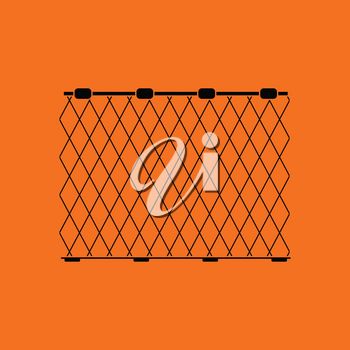 Icon of Fishing net . Orange background with black. Vector illustration.