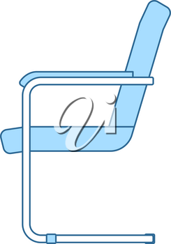 Guest Office Chair Icon. Thin Line With Blue Fill Design. Vector Illustration.