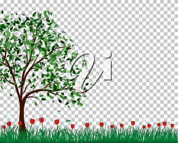 Summer meadow background with tulips. EPS 10 vector illustration.