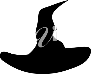 Witch Hat Over White Background for Creating Halloween Designs.  Vector illustration.