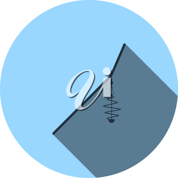 Icon Of Fishing Feeder Net. Flat Circle Stencil Design With Long Shadow. Vector Illustration.