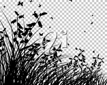 Meadow silhouette with transparency grid on back. Vector Illustration.
