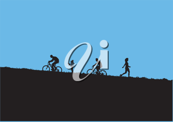 Royalty Free Clipart Image of Mountain Bikers