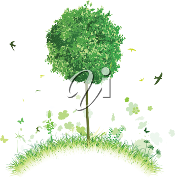 Royalty Free Clipart Image of a Tree on a Hillside
