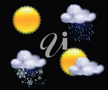Royalty Free Clipart Image of Weather Icons