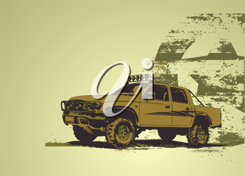 Royalty Free Clipart Image of a Military Vehicle