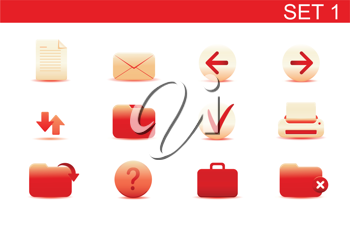 Royalty Free Clipart Image of Red Computer Icons