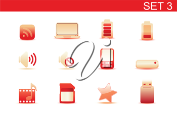 Royalty Free Clipart Image of Media Device Icons