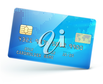 Vector illustration of detailed glossy blue credit card isolated on white background