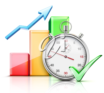 Vector illustration of timing concept with classic stopwatch, finance graph and check mark