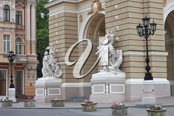 Sculpture at the entrance to Odessa Opera House. Ukraine