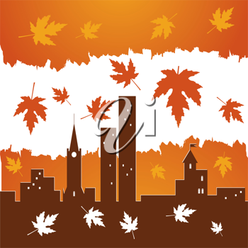 Royalty Free Clipart Image of Red Falling Maple Leaves on City Buildings