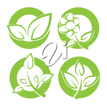 Royalty Free Clipart Image of Circles with Leaves