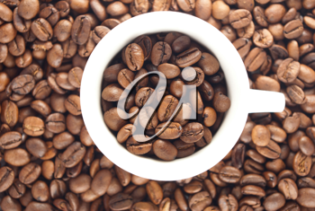 Royalty Free Photo of Coffee Beans and a Cup
