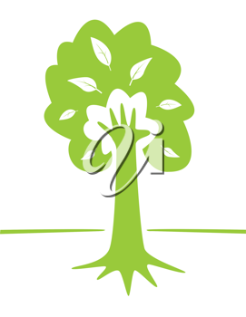 Hand and tree as green environment conceptual design. Vector EPS illustration.