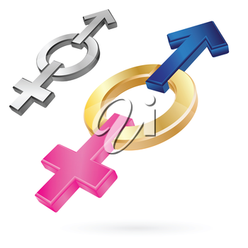Male and Female Symbols in one shape as love concept vector image.