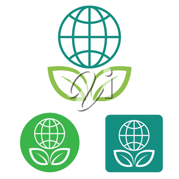 Save the earth web icon flat vector design.