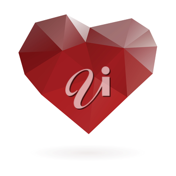 Abstract red heart symbol low poly vector gradient illustration.