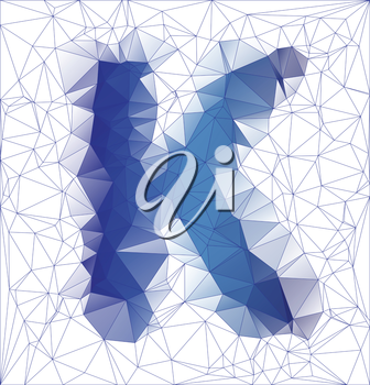 Abstract Frozen letter K low poly design vector illustration