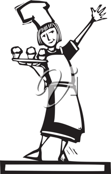 Royalty Free Clipart Image of a Female Baker Holding Cupcakes