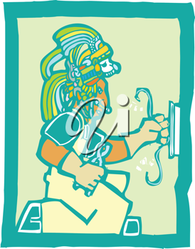 Royalty Free Clipart Image of a Mayan Temple Electrician